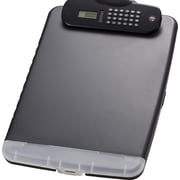 "OIC® Slim Clipboard Storage Box with Calculator, Charcoal, 10"" x 14 1/2"" x 1 1/4"""