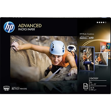 HP Advanced Photo Paper, 13in. x 19in., Glossy, 20/Pack
