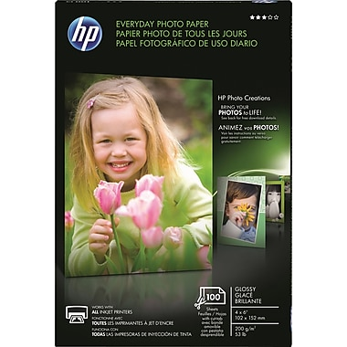 HP Everyday Photo Paper, 4in.x6in., Glossy, 100/Pack