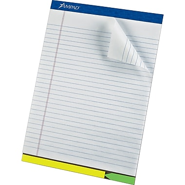 Ampad® EZ Flag Writing Pad, Wide Ruled, White, 8-1/2in. x 12-1/4in.