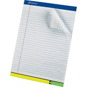 Ampad® EZ Flag Writing Pad, Wide Ruled, White, 8-1/2 x 12-1/4