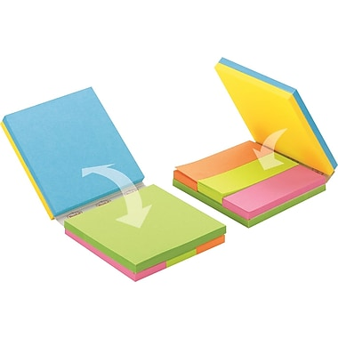Post-it&reg 3in. x 3in. Notes Cube,  Assorted Bright