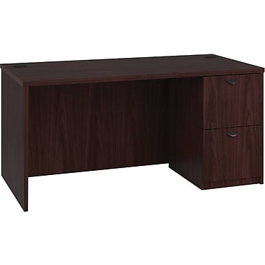 basyx by HON BL Series Workstation/Office Desk w/ Pedestal, Mahogany