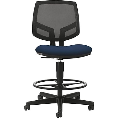 HON Volt Series Task Stool, Mesh Back, Pneumatic, Adjustable Height Footring, Navy