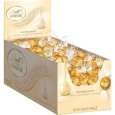 Lindt LINDOR Chocolate Truffles, White Chocolate, 120 Truffles/Box