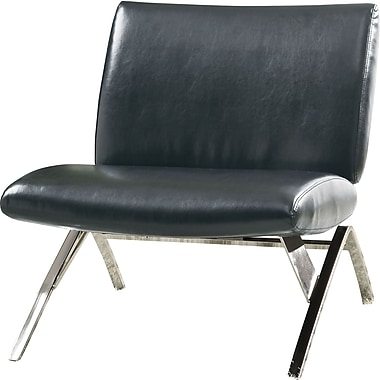 Monarch® Leather-Look / Chrome Metal Modern Accent Chair, Black