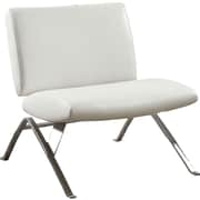 Monarch® Leather-Look / Chrome Metal Modern Accent Chair, White