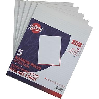 Hilroy – Bloc format lettre, 8 3/8 po x 10 7/8 po, réglage étroit, blanc, paq./5 blocs, 96 feuilles par bloc