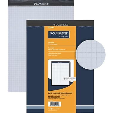 Cambridge® – Tablette de papier de qualité supérieure, 8-1/2 po x 11-3/4 po, quadrillé, blanc, 80 feuilles