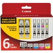 Canon PGI-220BK/CLI-221 Black and Color C/M/Y Ink Cartridges, Combo 6/Pack