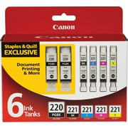 Canon PGI-220BK Black and CLI-221 B/C/M/Y Color Ink Cartridges (2945B015), Combo 6/Pack