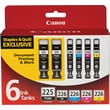 Canon PGI-225BK/CLI-226 Black and Color C/M/Y Ink Cartridges (4530B012), Combo 6/Pack