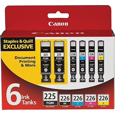 Canon PGI-225BK Black and CLI-226 B/C/M/Y Color Ink Cartridges (4530B012), Combo 6/Pack