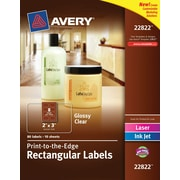 "Avery® 22822 Print-to-the-Edge Clear Rectangular Labels, Glossy, 2"" x 3"", 80/Pack"
