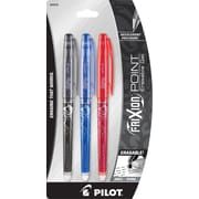 Pilot FriXion Point Erasable Gel Pens, Extra Fine Point, Assorted, 3/Pack (31579)