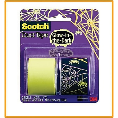 Scotch® Brand Duct Tape, Spider Web/ Glow in the Dark, 2/Pack , 1.42