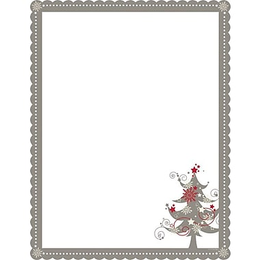 Great Papers® Pretty Grey Tree  Scalloped Die-Cut Stationery
