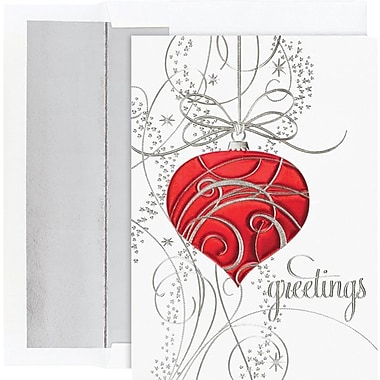 Great Papers­­® Silver Swirl Ornament Boxed Holiday  Cards & Envelopes