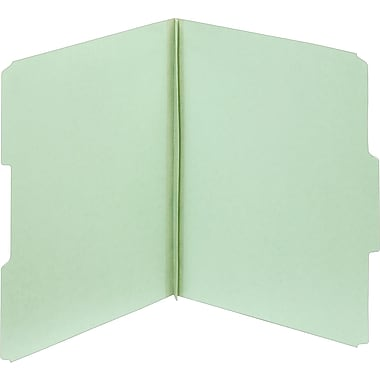 Staples Top Tab Pressboard File Folders, Letter Size, Light Green