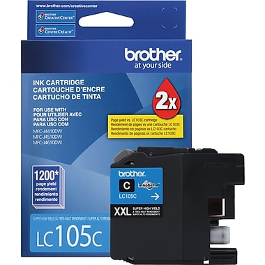 Brother LC105 Cyan Ink Cartridge (LC105C), Super High Yield