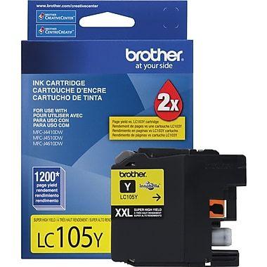 Brother LC105Y Yellow Ink Cartridge, Super High-Yield