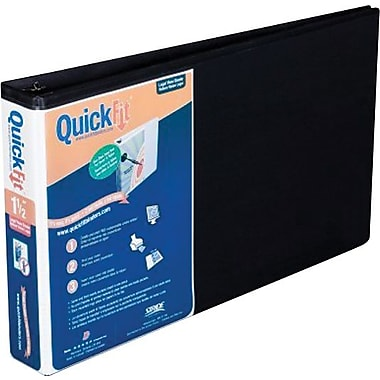 1 1/2in. Stride QuickFit 8 1/2in. x 14in. Landscape Orientation round-Ring View Binder, Black