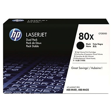 HP 80X Black Toner Cartridge (CF280XD), High Yield, Twin Pack