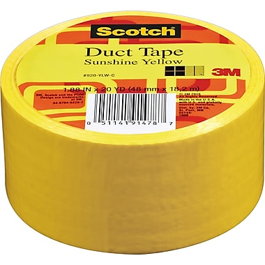 Scotch® Brand Duct Tape, Sunshine Yellow, 1.88in. x 20 Yards