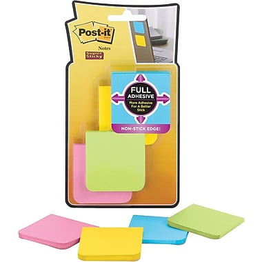 Post-it® Super Sticky Full Adhesive, 2in. x 2in. Bright Notes, 8 Pads/Pack
