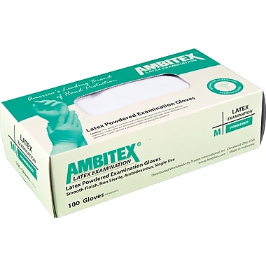 Ambitex Latex Exam Glove, Powdered, Smooth Finish, Large, 1,000/Carton
