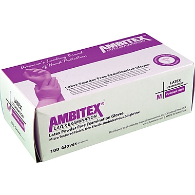 Ambitex® Textured Powder-Free Disposable Latex Exam Gloves, Cream, Large