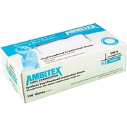 Ambitex® Powdered Disposable Vinyl Exam Gloves, Clear, Medium