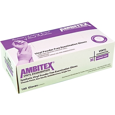 Ambitex Vinyl Exam Glove, Powder-Free, Smooth Finish, 1,000/Carton