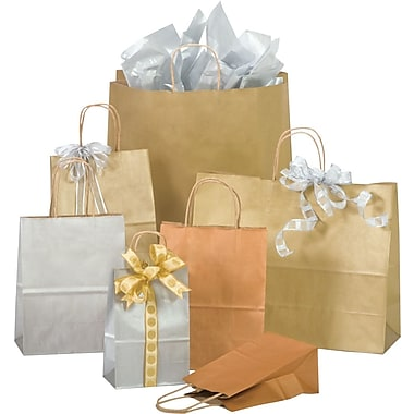 Bonita Kraft Paper 19.25in.H x 16in.W x 6in.D Precious Metals on Natural Kraft Shopping Bags, Gold Rush, 200/Case