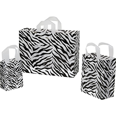 Shamrock Printed Zebra Stripes Frosted Bag, 5in. x 3in. x 7in.