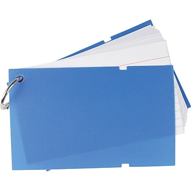 Staples® Ruled Index Cards on a Ring, Blue Poly Cover, 3
