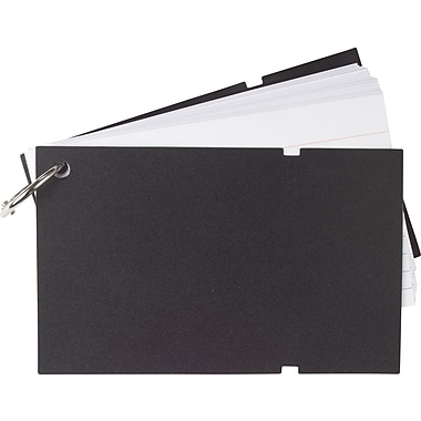 Staples Ruled Index Cards on a Ring, Black Poly Cover, 3in. x 5in.