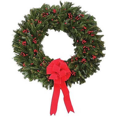 The Christmas Tree Company Fresh Berry Christmas Wreath with Hanger, 24in