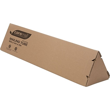 "Caremail Eco-Friendly Recyclable Triangle Mailing Tube 4""x4""x18""  12/cs"