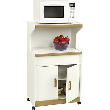 Ameriwood Microwave Workcenter, White/Oak