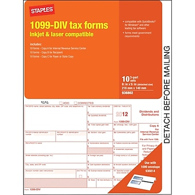 1099 Dividend Tax Forms, 10 pack