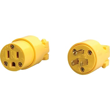 CCI® Yellow Vinyl Shell Replacement Male Cap Plug, 12 AWG Conductor, 125 V, 15 A