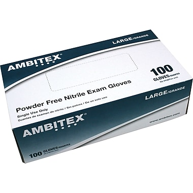 Ambitex Nitrile Powder-Free Exam Gloves, Small, 1,000/Carton