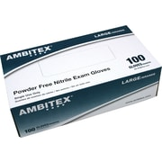 Ambitex Nitrile Powder-Free Exam Gloves, Large, 1,000/Carton