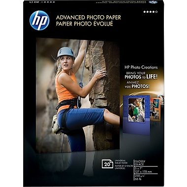 HP Advanced Photo Paper, 5in. x 7in., Glossy, 20/Pack