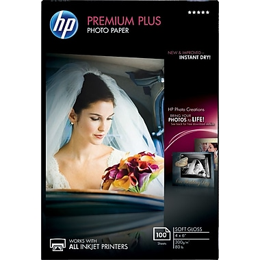 HP Premium Plus Photo Paper, 4in. x 6in., Soft Gloss, 100/Pack