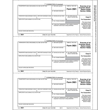 TOPS 3921 Tax Form, 1 Part, Corporation - Copy C, White, 8 1/2in. x 11in., 50 Sheets/Pack
