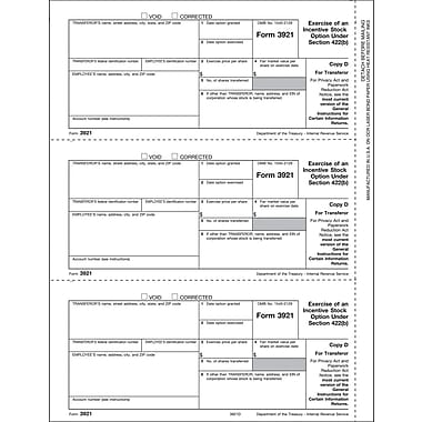 TOPS 3921 Tax Form, 1 Part, Transferor - Copy D, White, 8 1/2in. x 11in., 50 Sheets/Pack