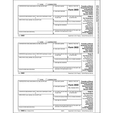 TOPS® 3922 Tax Form, 1 Part, Corporation - Copy C, White, 8 1/2