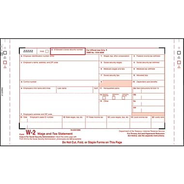 TOPS® W-2 Tax Form, 4 Part, White, 9 1/2